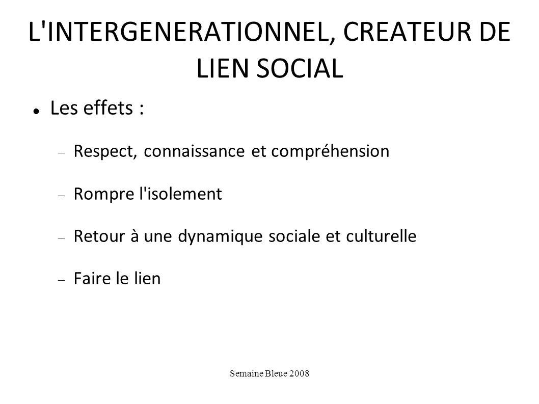 L INTERGENERATIONNEL, CREATEUR DE LIEN SOCIAL