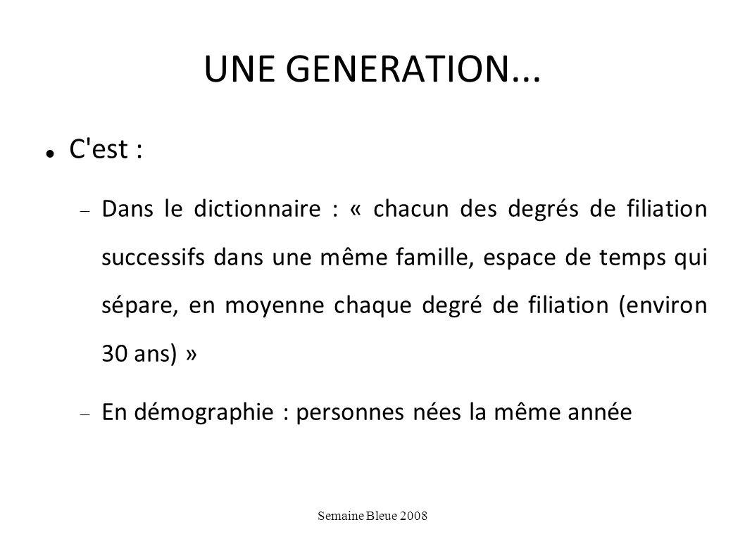 UNE GENERATION... C est :