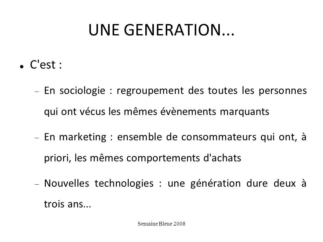 UNE GENERATION... C est : En sociologie : regroupement des toutes les personnes qui ont vécus les mêmes évènements marquants.
