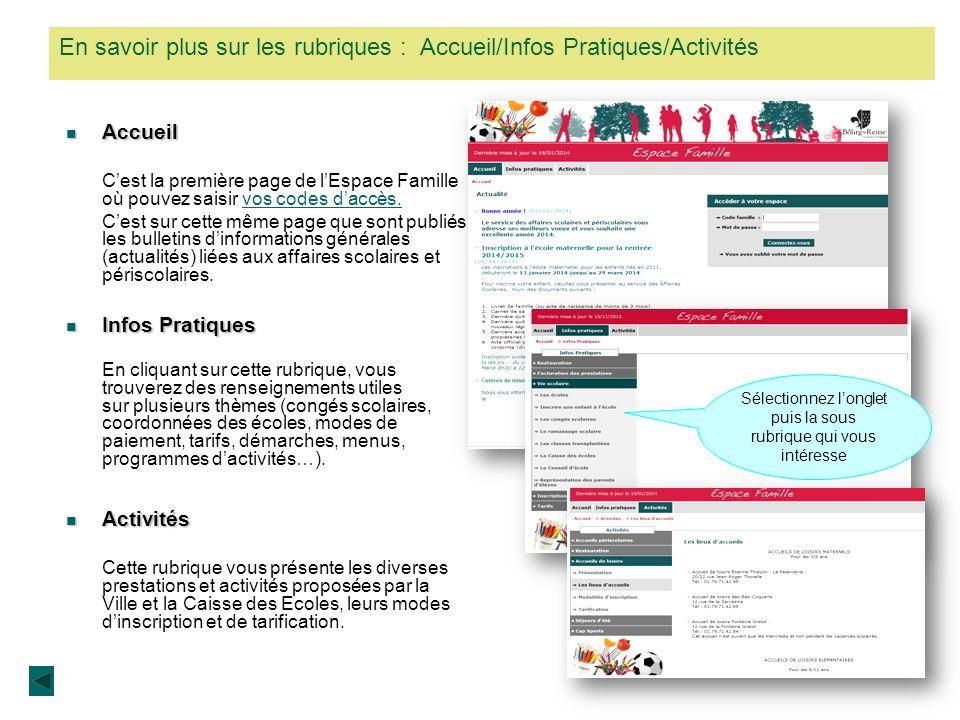 En savoir plus sur les rubriques : Accueil/Infos Pratiques/Activités
