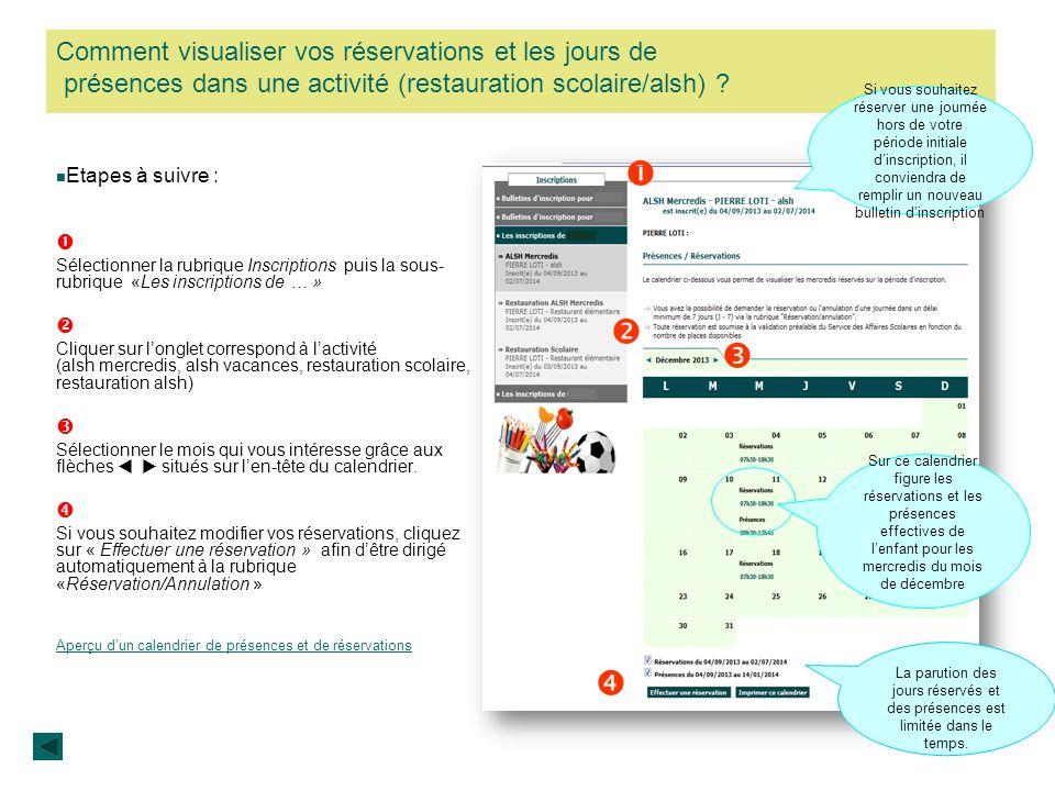 Comment visualiser vos réservations et les jours de présences dans une activité (restauration scolaire/alsh)