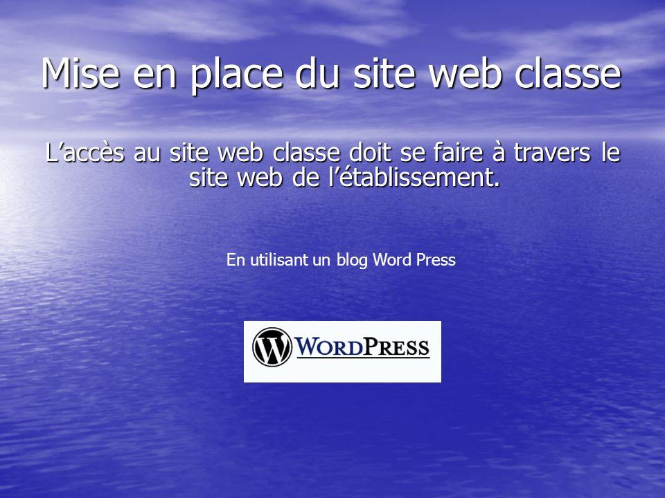 Mise en place du site web classe