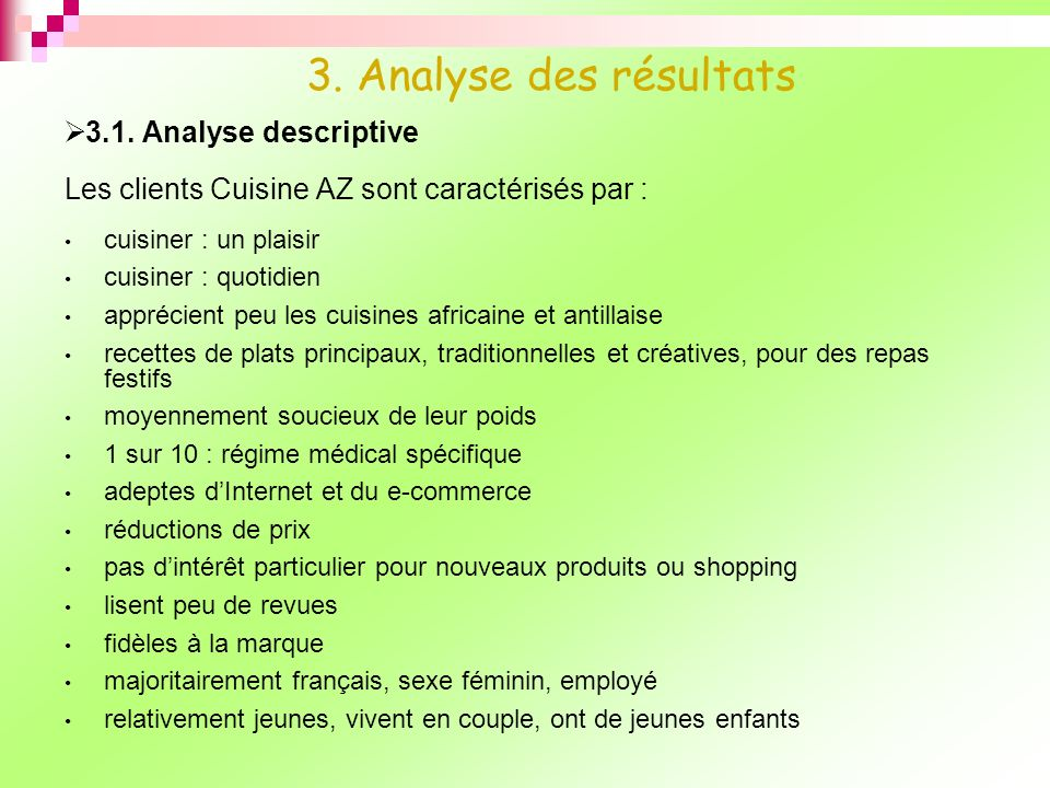3. Analyse des résultats 3.1. Analyse descriptive