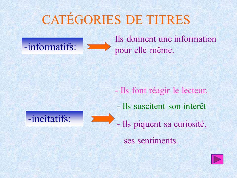 CATÉGORIES DE TITRES informatifs: -incitatifs: