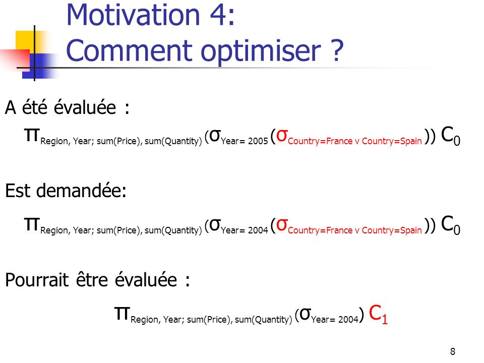 Motivation 4: Comment optimiser