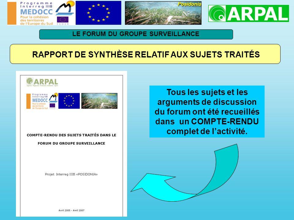 RAPPORT DE SYNTHÈSE RELATIF AUX SUJETS TRAITÉS