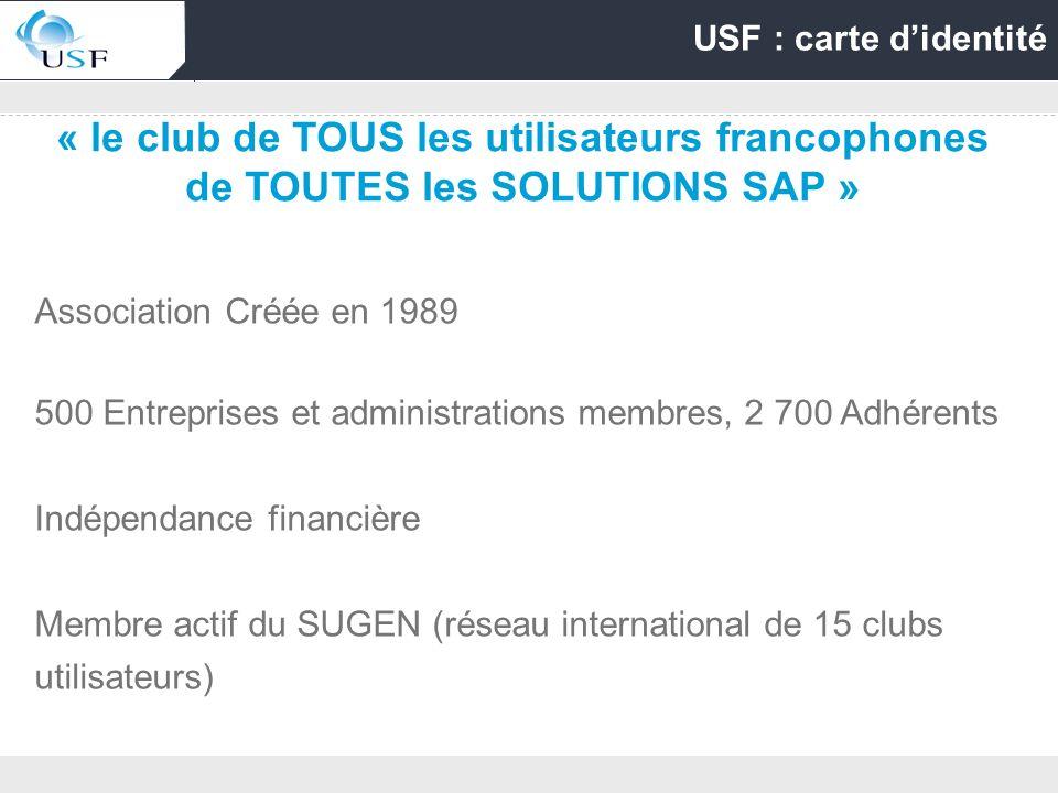 USF : carte d'identité « le club de TOUS les utilisateurs francophones de TOUTES les SOLUTIONS SAP »