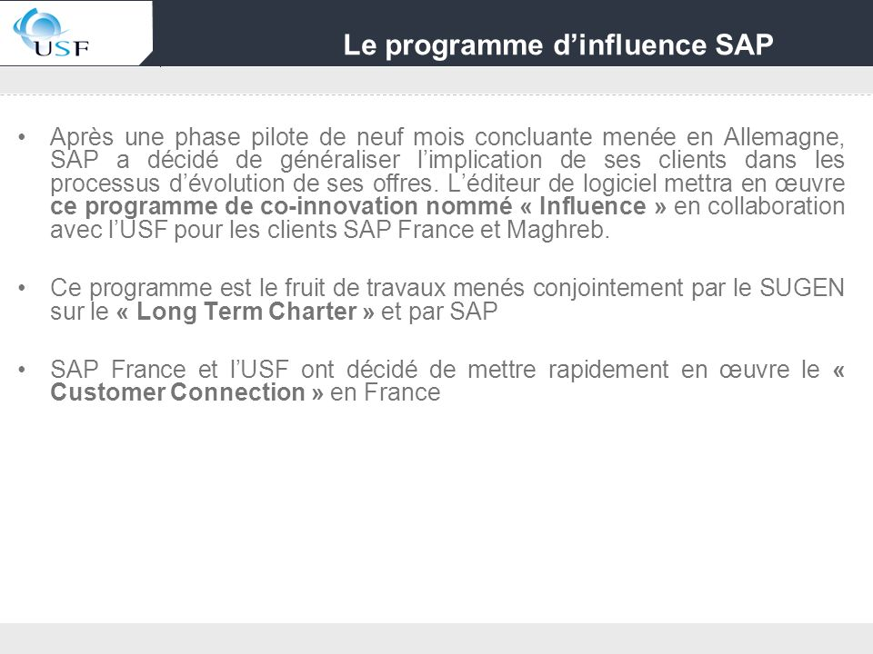 Le programme d'influence SAP