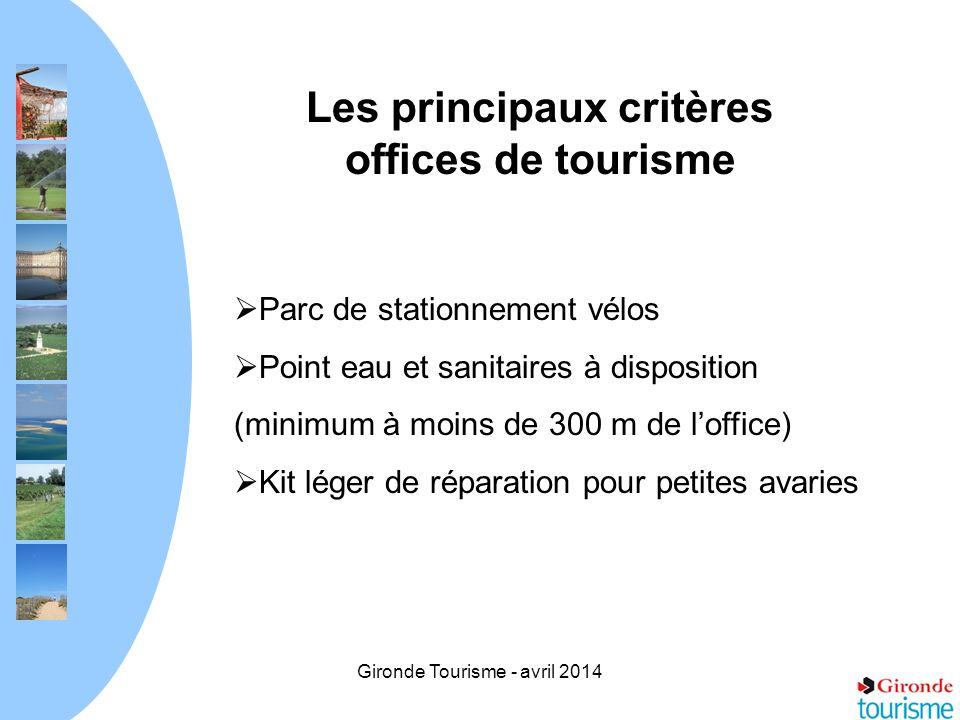 Les principaux critères offices de tourisme