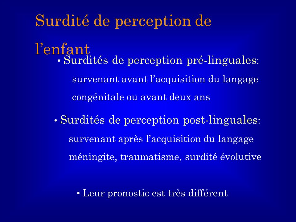 Surdité de perception de l'enfant