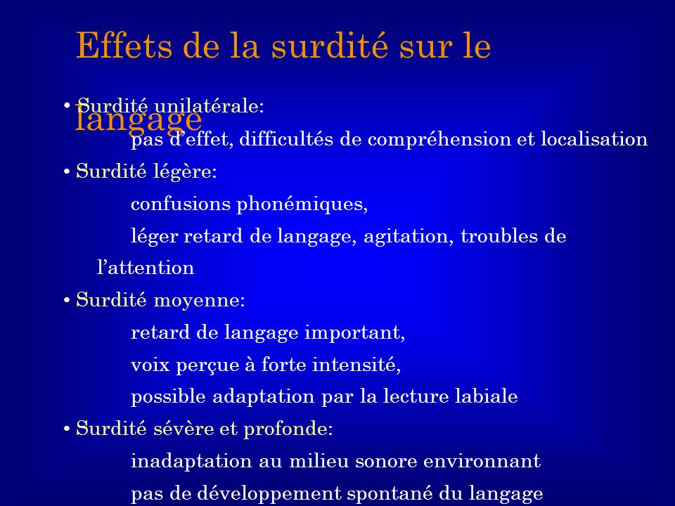 Effets de la surdité sur le langage