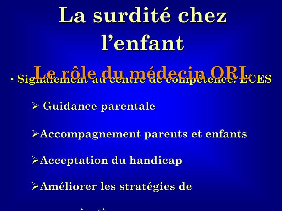 La surdité chez l'enfant Signalement au centre de compétence: ECES