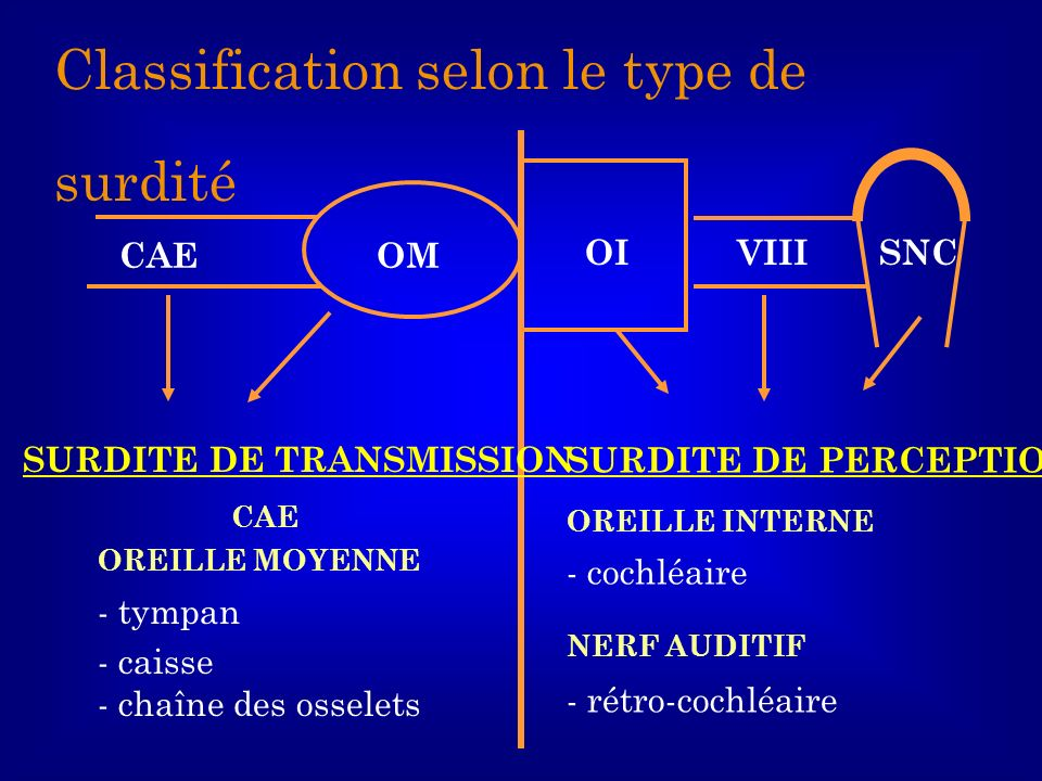 Classification selon le type de surdité