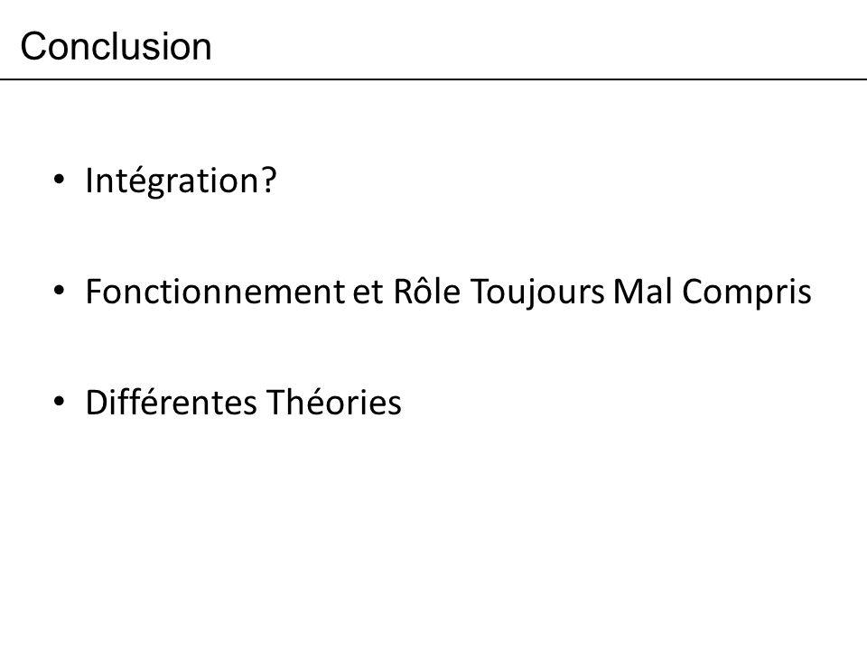 Conclusion Intégration Fonctionnement et Rôle Toujours Mal Compris Différentes Théories