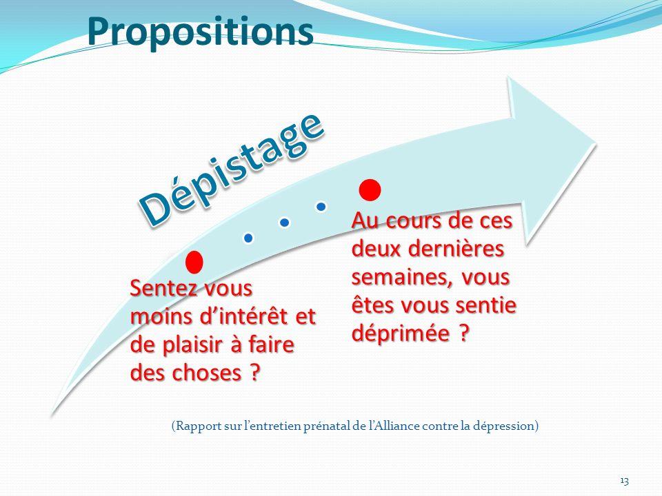 Dépistage Propositions