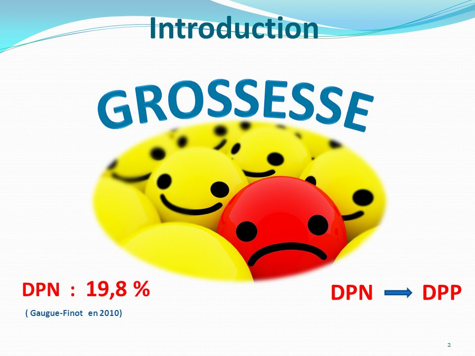 Introduction GROSSESSE DPN : 19,8 % DPN DPP ( Gaugue-Finot en 2010)