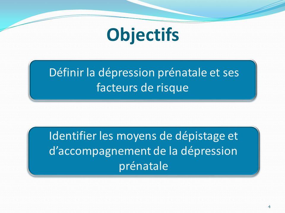 Définir la dépression prénatale et ses facteurs de risque