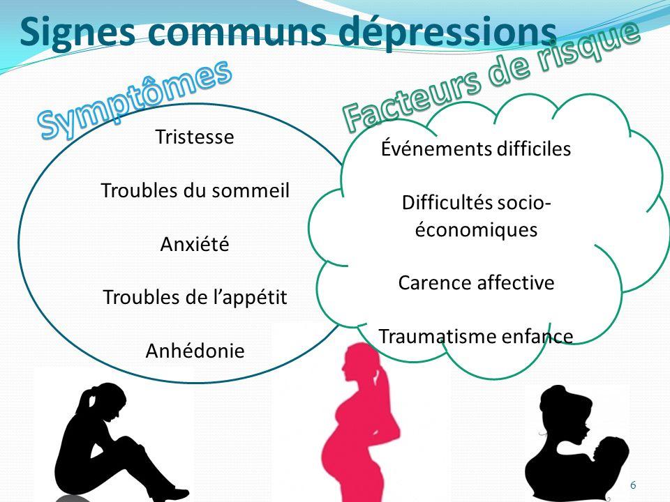 Signes communs dépressions
