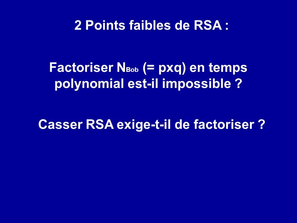 Factoriser NBob (= pxq) en temps polynomial est-il impossible