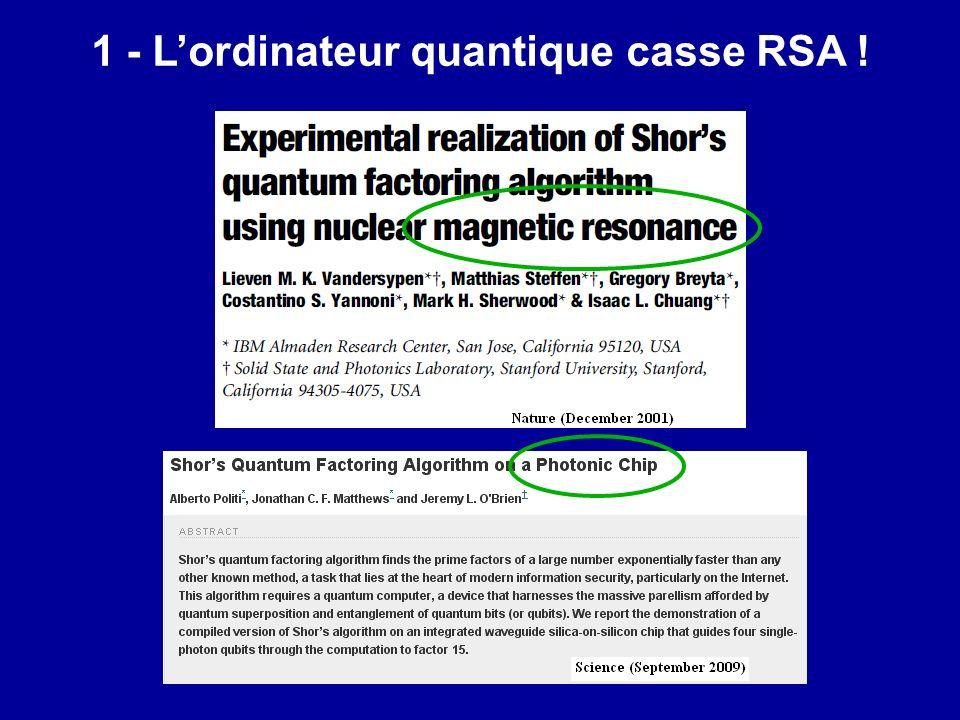 1 - L'ordinateur quantique casse RSA !