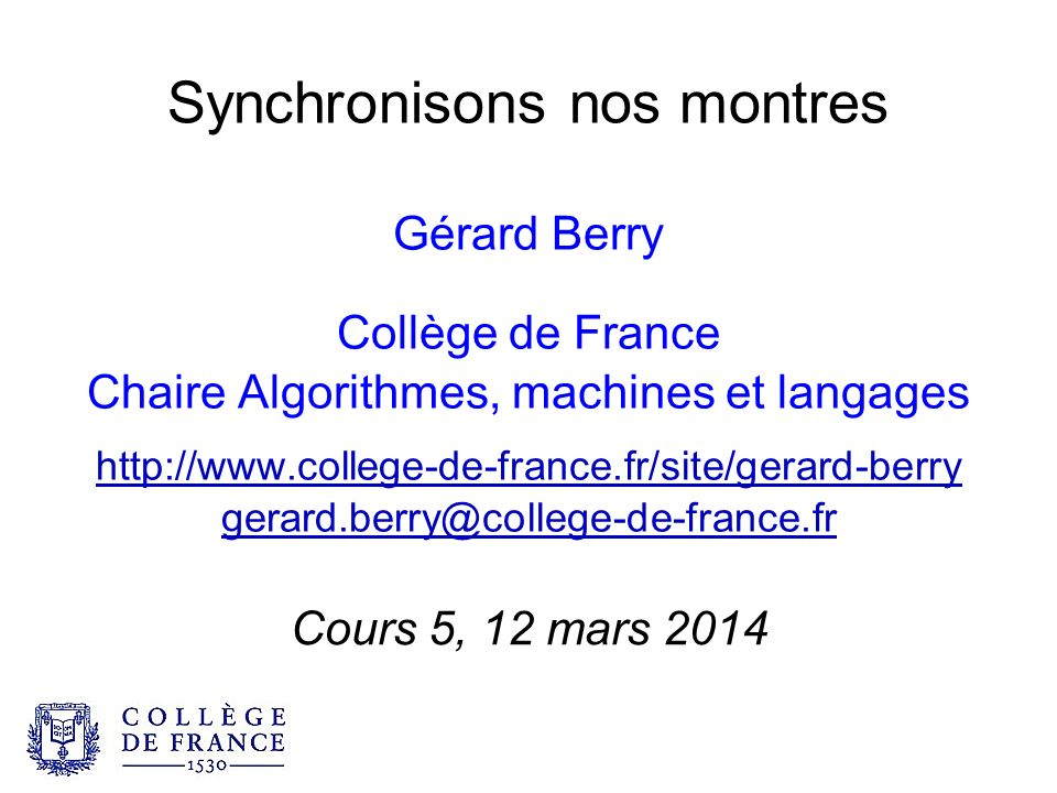 Synchronisons nos montres