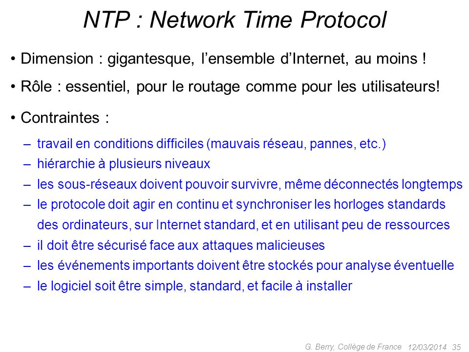 NTP : Network Time Protocol