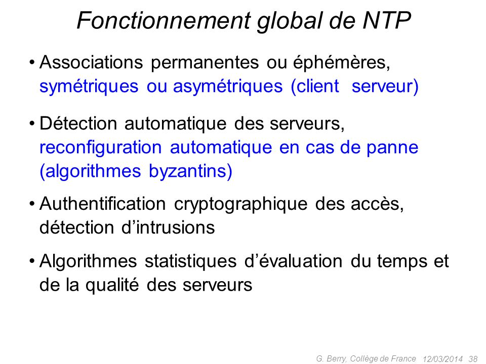 Fonctionnement global de NTP