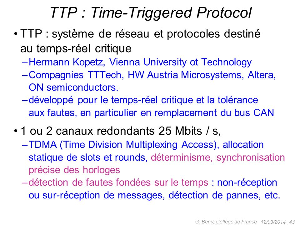 TTP : Time-Triggered Protocol