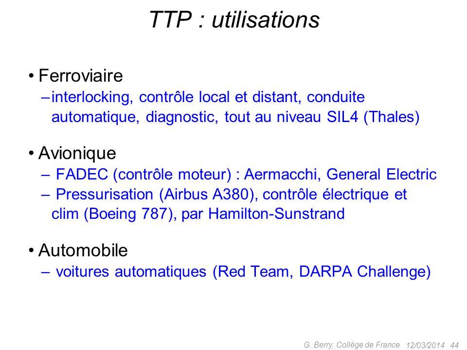 TTP : utilisations Ferroviaire Avionique Automobile