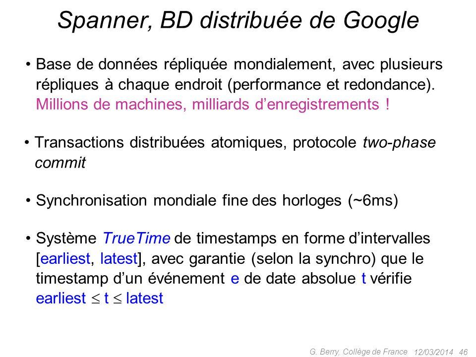 Spanner, BD distribuée de Google
