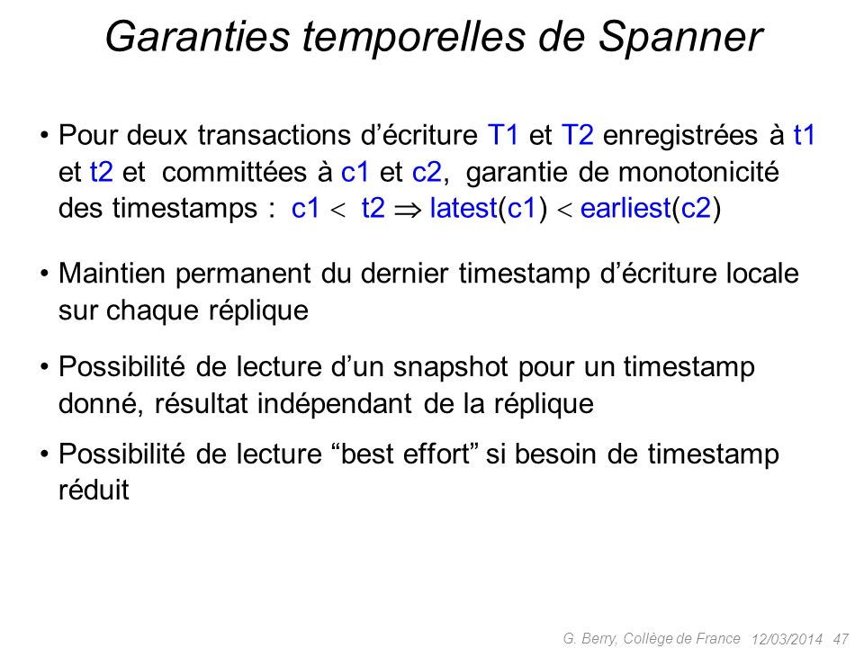 Garanties temporelles de Spanner