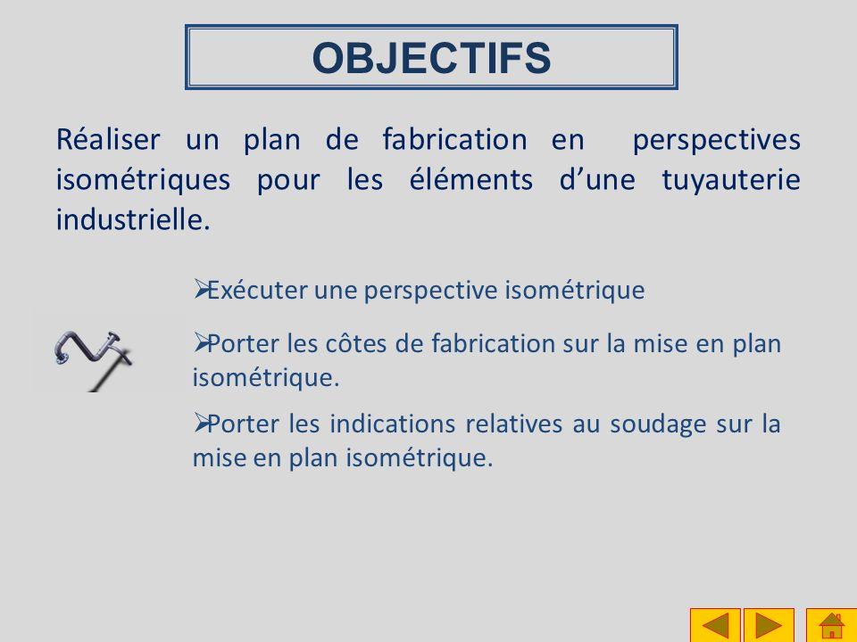 OBJECTIFS Réaliser un plan de fabrication en perspectives isométriques pour les éléments d'une tuyauterie industrielle.