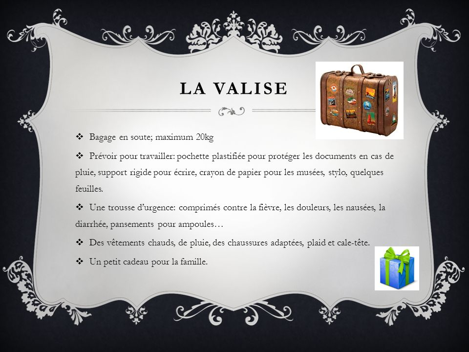 La valise Bagage en soute; maximum 20kg