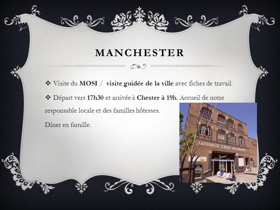 Manchester Visite du MOSI / visite guidée de la ville avec fiches de travail.