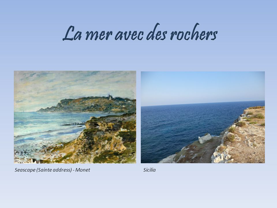 La mer avec des rochers Seascape (Sainte address) - Monet Sicilia