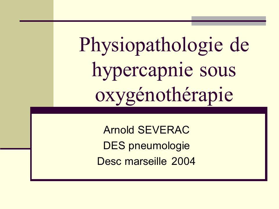 Physiopathologie de hypercapnie sous oxygénothérapie