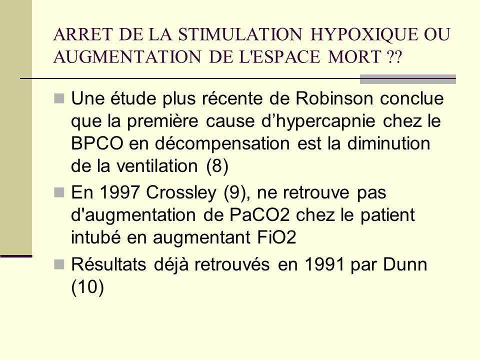 ARRET DE LA STIMULATION HYPOXIQUE OU AUGMENTATION DE L ESPACE MORT