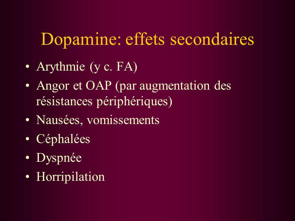 Dopamine: effets secondaires