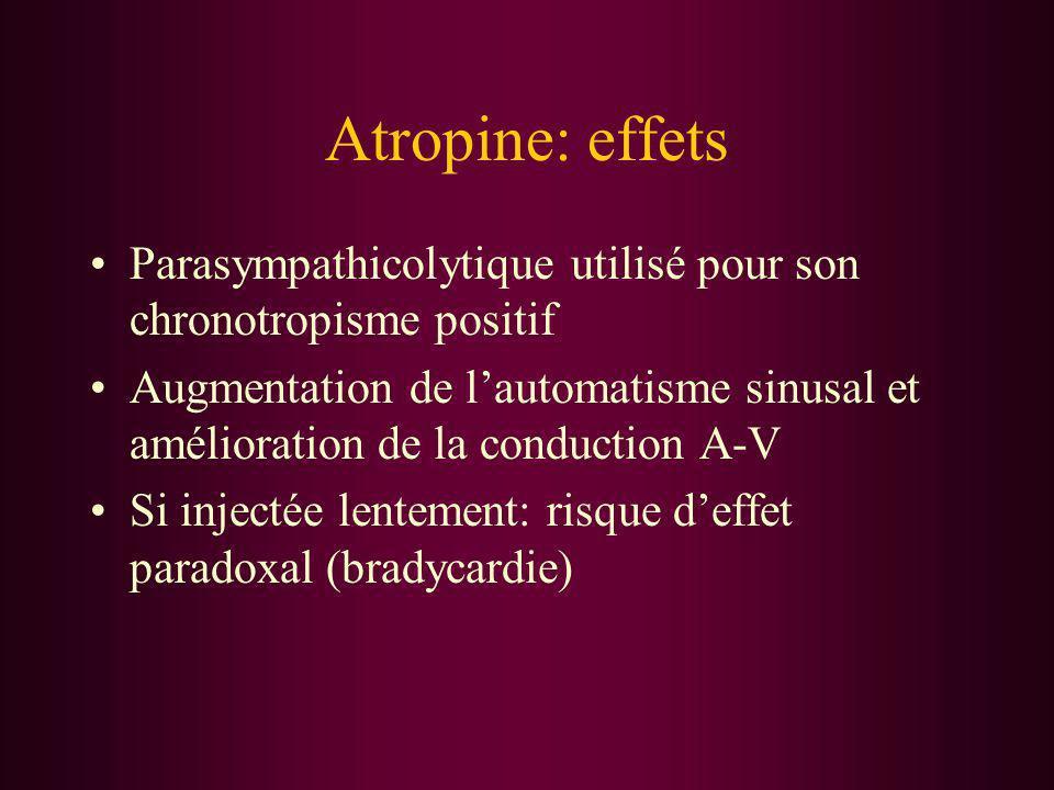 Atropine: effets Parasympathicolytique utilisé pour son chronotropisme positif.