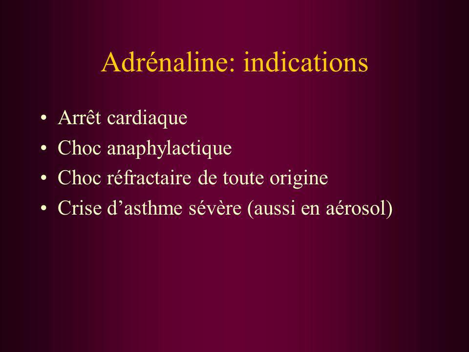Adrénaline: indications