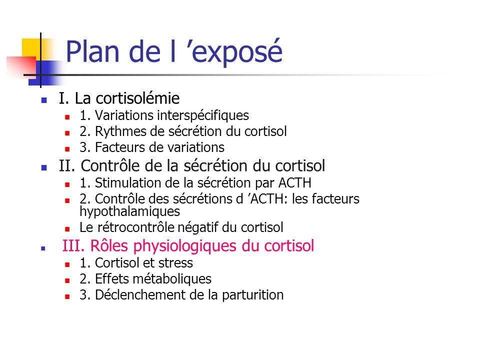 Plan de l 'exposé I. La cortisolémie