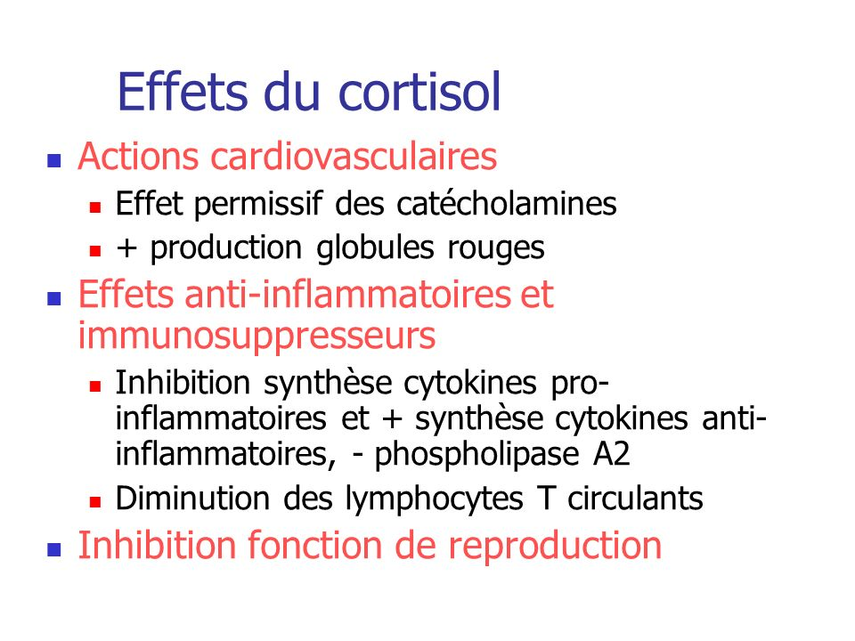 Effets du cortisol Actions cardiovasculaires