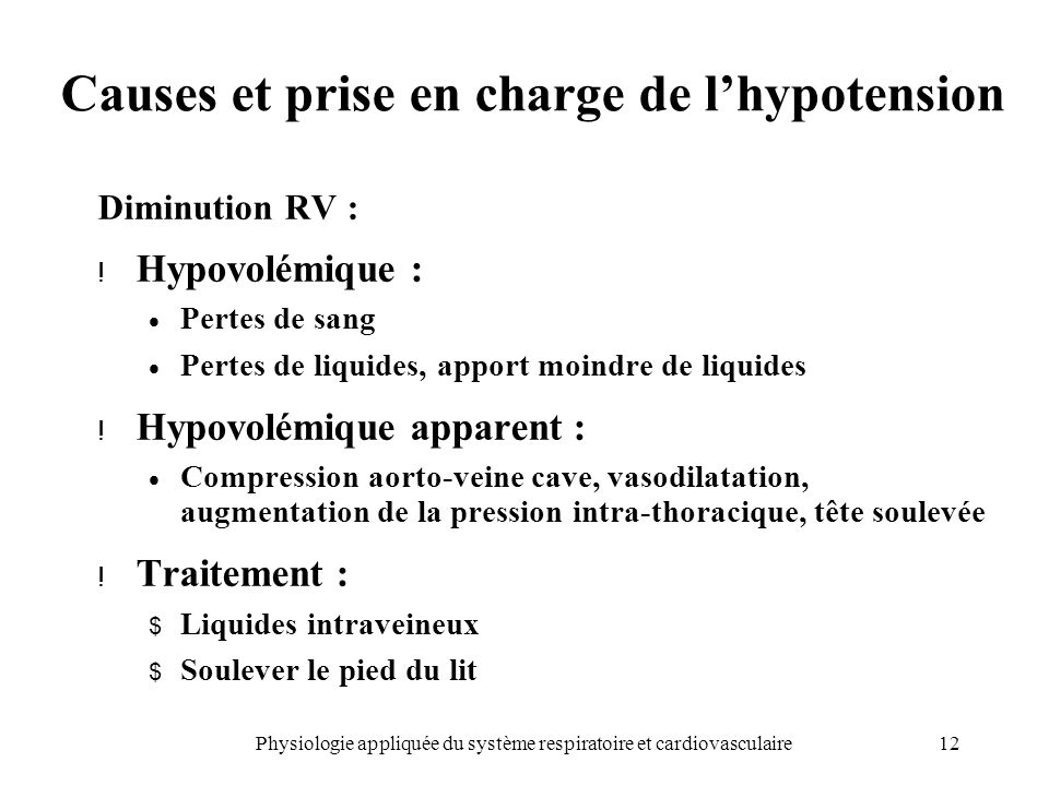 Causes et prise en charge de l'hypotension