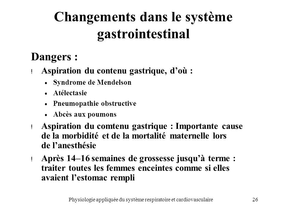 Changements dans le système gastrointestinal