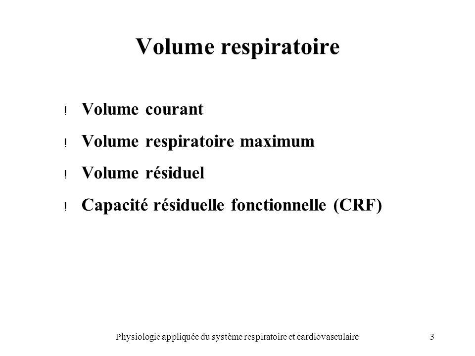 Physiologie appliquée du système respiratoire et cardiovasculaire