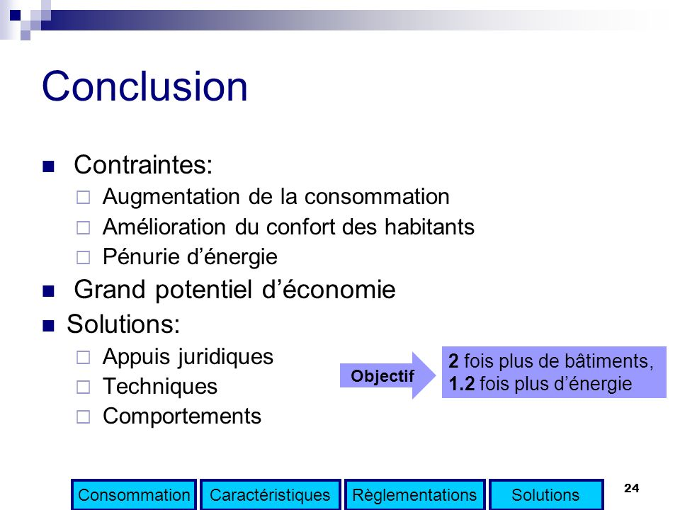 Conclusion Contraintes: Grand potentiel d'économie Solutions: