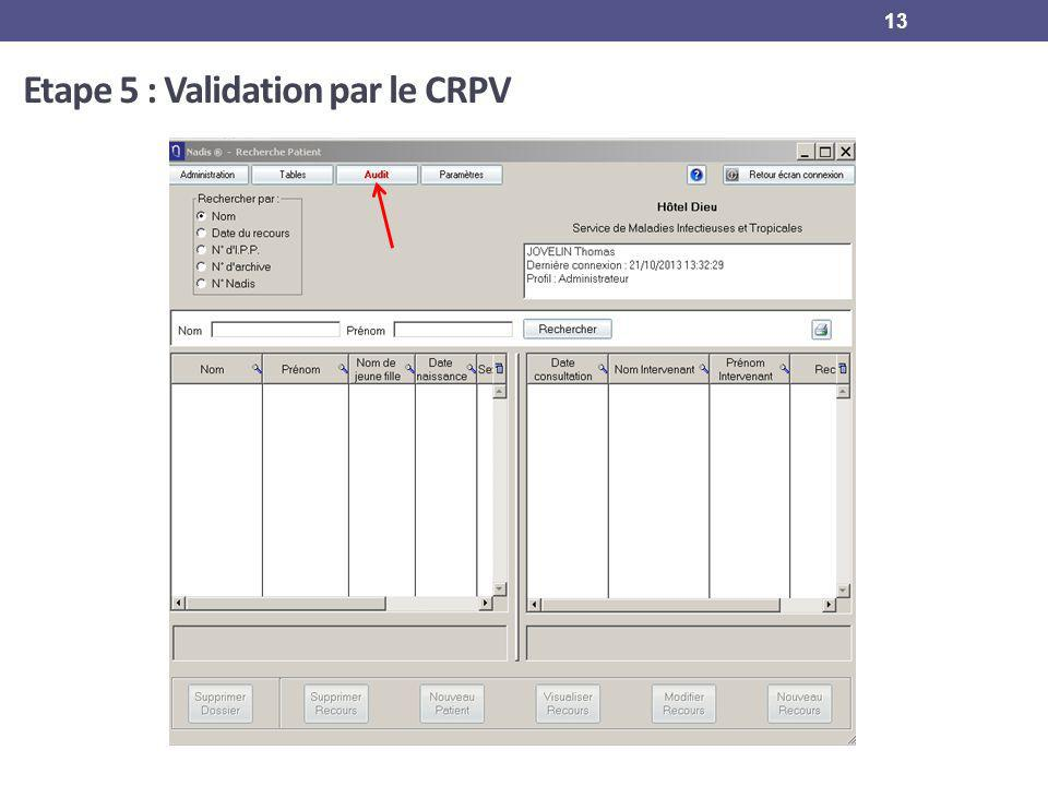 Etape 5 : Validation par le CRPV