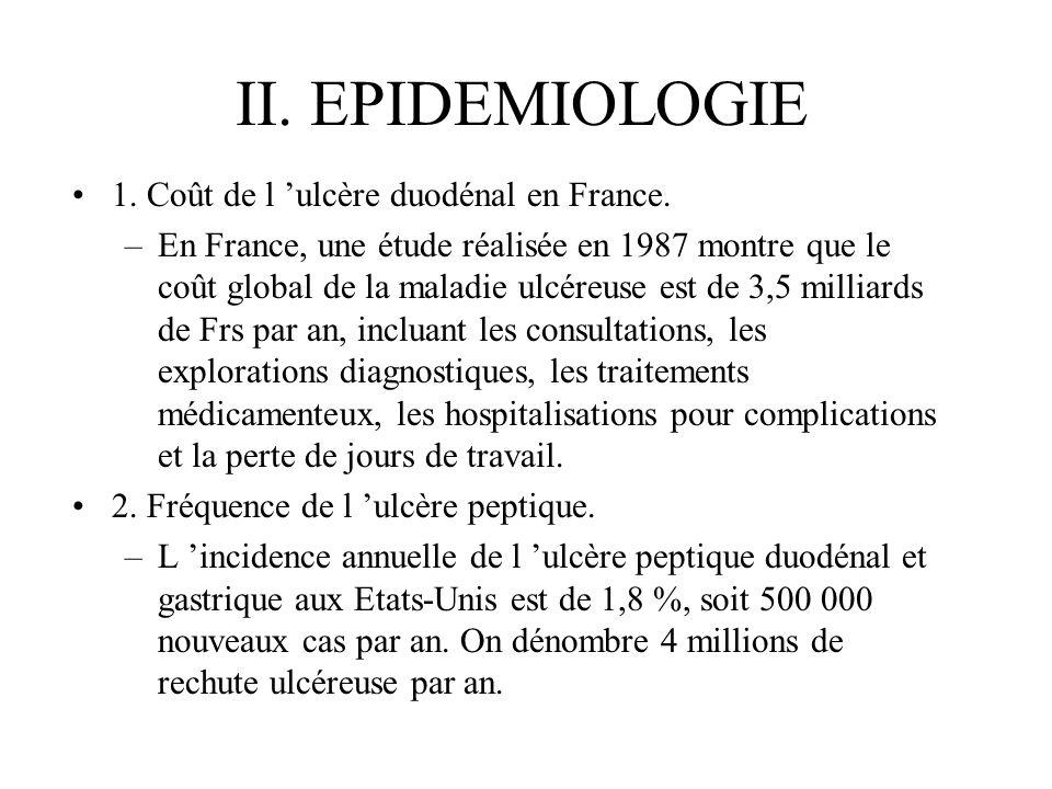 II. EPIDEMIOLOGIE 1. Coût de l 'ulcère duodénal en France.