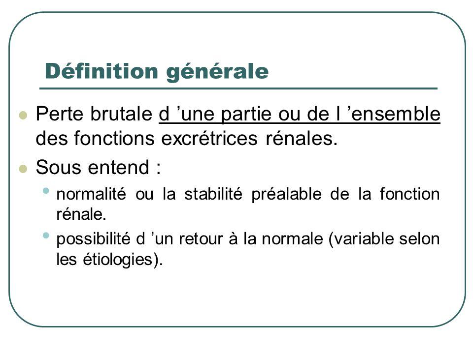 Définition générale Perte brutale d 'une partie ou de l 'ensemble des fonctions excrétrices rénales.