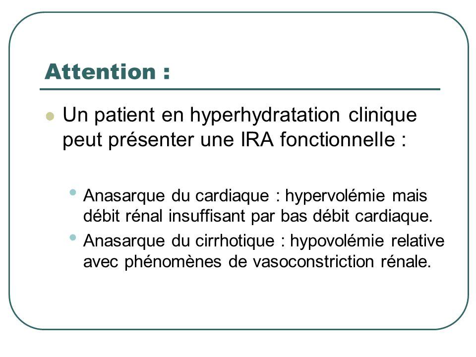 Attention : Un patient en hyperhydratation clinique peut présenter une IRA fonctionnelle :